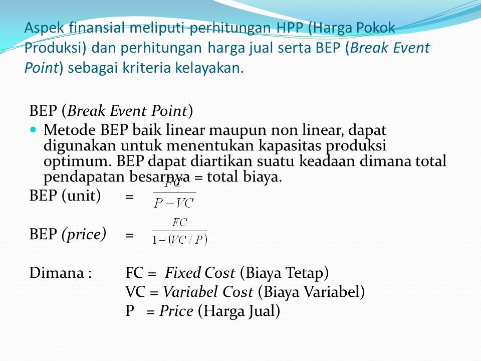 Aspek finansial meliputi perhitungan HPP (Harga Pokok Produksi) dan perhitungan harga jual serta BEP (Break Event Point) sebagai kriteria kelayakan. B