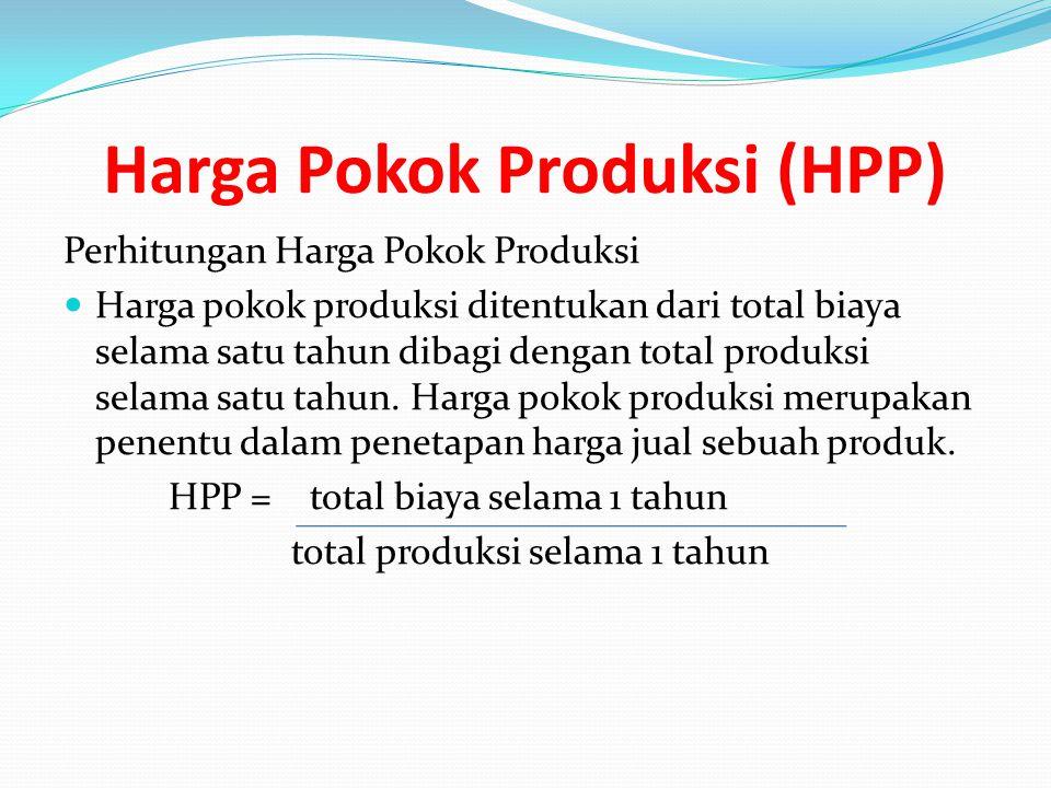 Harga Pokok Produksi (HPP) Perhitungan Harga Pokok Produksi Harga pokok produksi ditentukan dari total biaya selama satu tahun dibagi dengan total pro