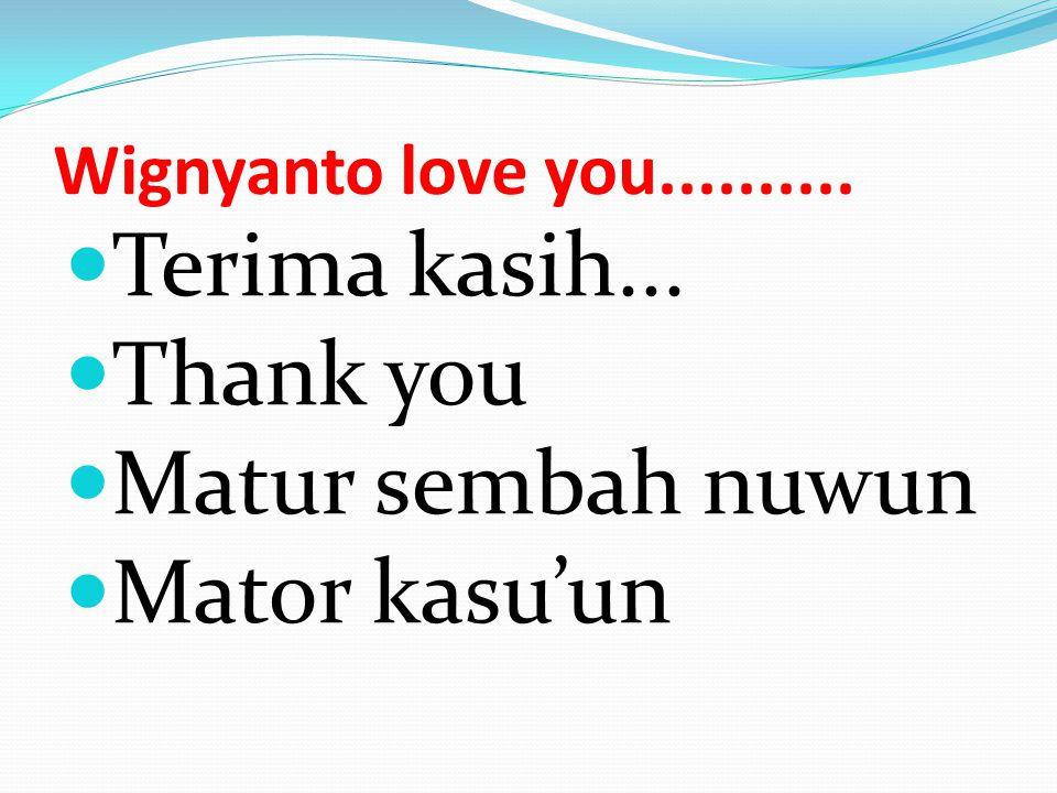 Wignyanto love you.......... Terima kasih... Thank you Matur sembah nuwun Mator kasu'un