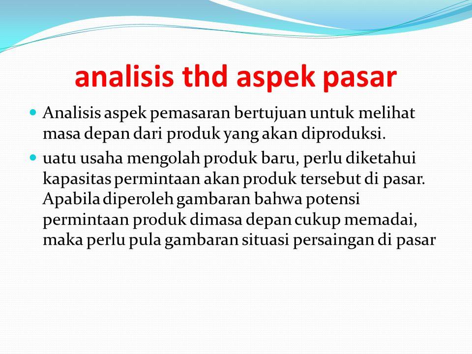 analisis thd aspek pasar Analisis aspek pemasaran bertujuan untuk melihat masa depan dari produk yang akan diproduksi. uatu usaha mengolah produk baru