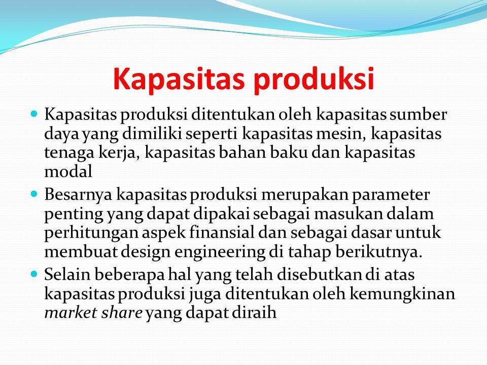 Kapasitas produksi Kapasitas produksi ditentukan oleh kapasitas sumber daya yang dimiliki seperti kapasitas mesin, kapasitas tenaga kerja, kapasitas b