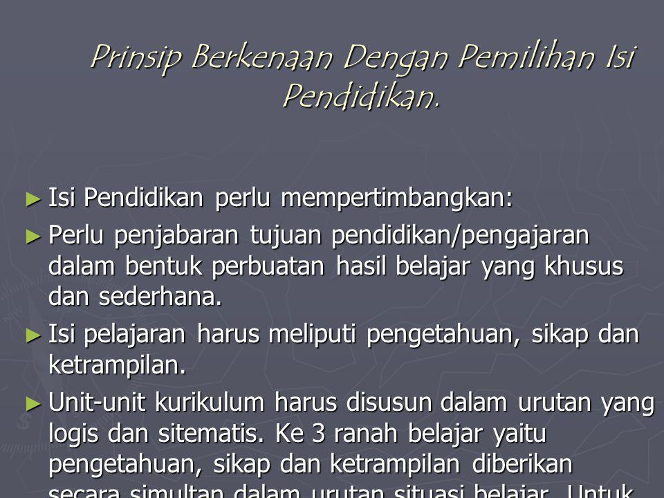Prinsip-prinsip Khusus. Prinsip Berkenaan Dengan Tujuan Pendidikan ► Tujuan bersifat jangka panjang, Jangka menengah dan Jangka pendek. Perumusan tuju