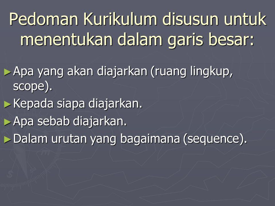 Proses Pengembangan Kurikulum. Pedoman Kurikulum ► Latar belakang, yang berisi rumusan falsafah dan tujuan lembaga pendidikan, populasi yang menjadi s