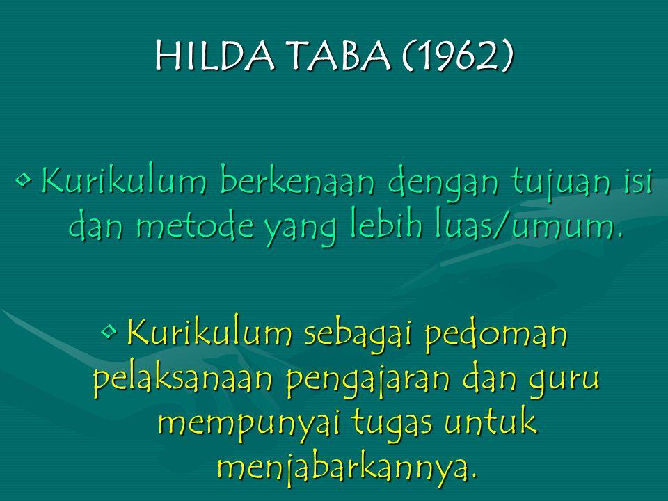 HILDA TABA (1962) Kurikulum berkenaan dengan tujuan isi dan metode yang lebih luas/umum.Kurikulum berkenaan dengan tujuan isi dan metode yang lebih luas/umum.