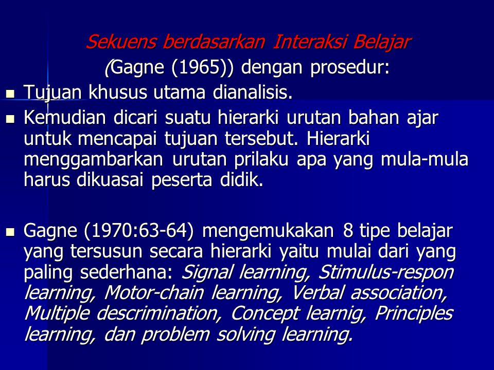 Thomas Gilbert (1962) Rangkaian ke Belakang (backward chaining), bahan ajar yang disusun mulai dengan langkah terakhir dan mundur ke belakang Rangkaia
