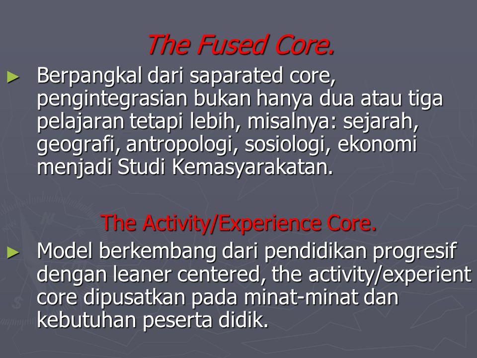 Variasi Desain Core Curriculum The Saparate subject Core ► Salah satu usaha untuk mengatasi keterpisahan antar mata pelajaran, mata pelajaran yang dip