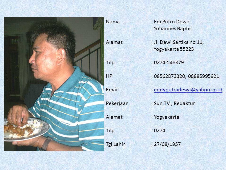 Nama: Sigit Harnadi Fransiscus Xav Alamat: Billymoon Q 3/3 Pondok Kelapa, Jakarta Timur 13450 Tilp: 021-8641967 HP: 0811197165 Email: sigit@bpm.kompasgramedia.com; sigit.harnadi@yahoo.com sigit@bpm.kompasgramedia.com sigit.harnadi@yahoo.com Pekerjaan: Kompas Gramedia Alamat : Jl.