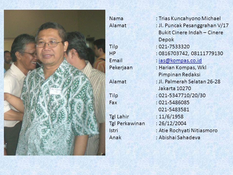 Nama: Heru Sugeng Listiono, Sulpicius Alamat: Taman Puri Bintaro PB 33/53 Bintaro Jaya Sektor 9 Ciputat Tangerang 15143 Tilp: 021-7454189 HP: 08121021306 Email: hsugeng@chevron.com; lherusugeng@yahoo.comhsugeng@chevron.com lherusugeng@yahoo.com Pekerjaan: Chevron IndoAsia Business Unit (IBU), Contract & Category Management - SCM Alamat : Sentral Senayan 1 Lantai 12 jl.
