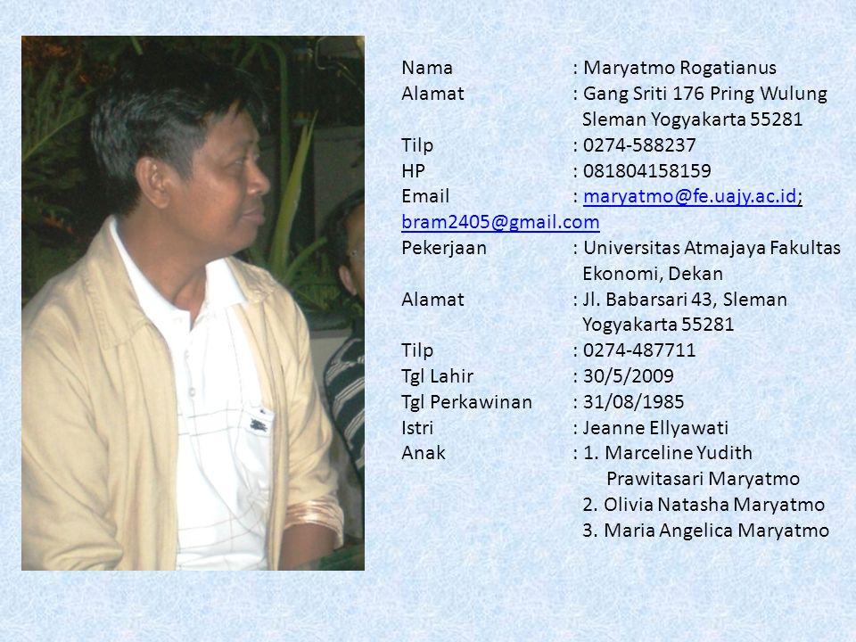 Nama: Maryatmo Rogatianus Alamat: Gang Sriti 176 Pring Wulung Sleman Yogyakarta 55281 Tilp: 0274-588237 HP: 081804158159 Email: maryatmo@fe.uajy.ac.id; bram2405@gmail.commaryatmo@fe.uajy.ac.id bram2405@gmail.com Pekerjaan: Universitas Atmajaya Fakultas Ekonomi, Dekan Alamat : Jl.