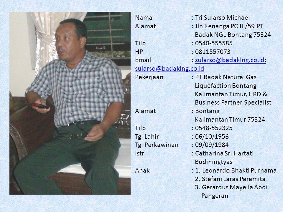Nama: Purwanto Albertus Alamat: Pingit Jt I / 167 Yogyakarta 55231 Tilp: 0274 - 589519 HP: 08121577348 Email: kasdoetinggris@ayahoo.comkasdoetinggris@ayahoo.com Pekerjaan: Hotel Santika Premiere Jogja Alamat : Jl.