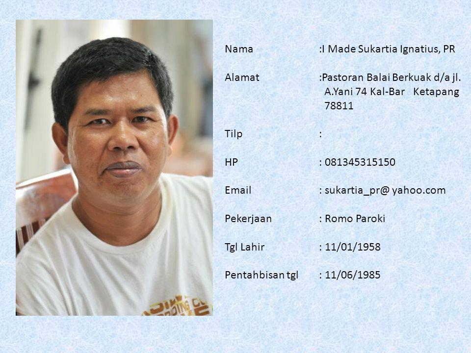 Nama: Aloysius Rinata Hadiwardaya, MSF Alamat: Gereja Santo Paulus Jl.