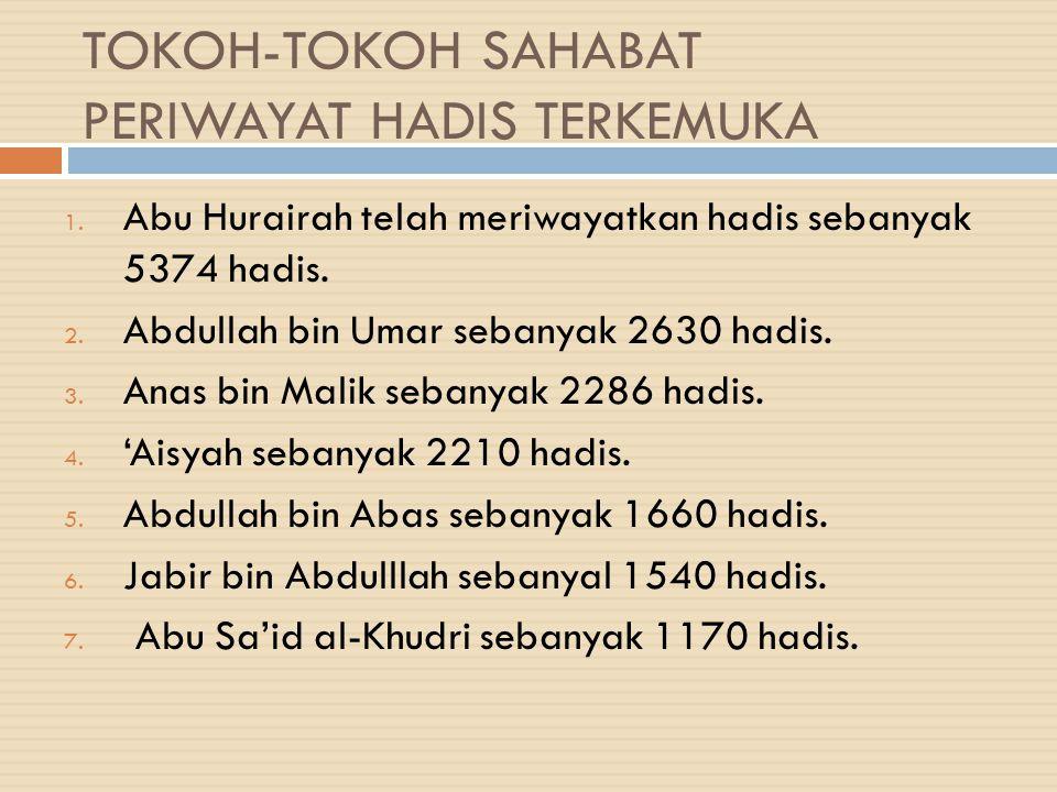 TOKOH-TOKOH SAHABAT PERIWAYAT HADIS TERKEMUKA 1. Abu Hurairah telah meriwayatkan hadis sebanyak 5374 hadis. 2. Abdullah bin Umar sebanyak 2630 hadis.