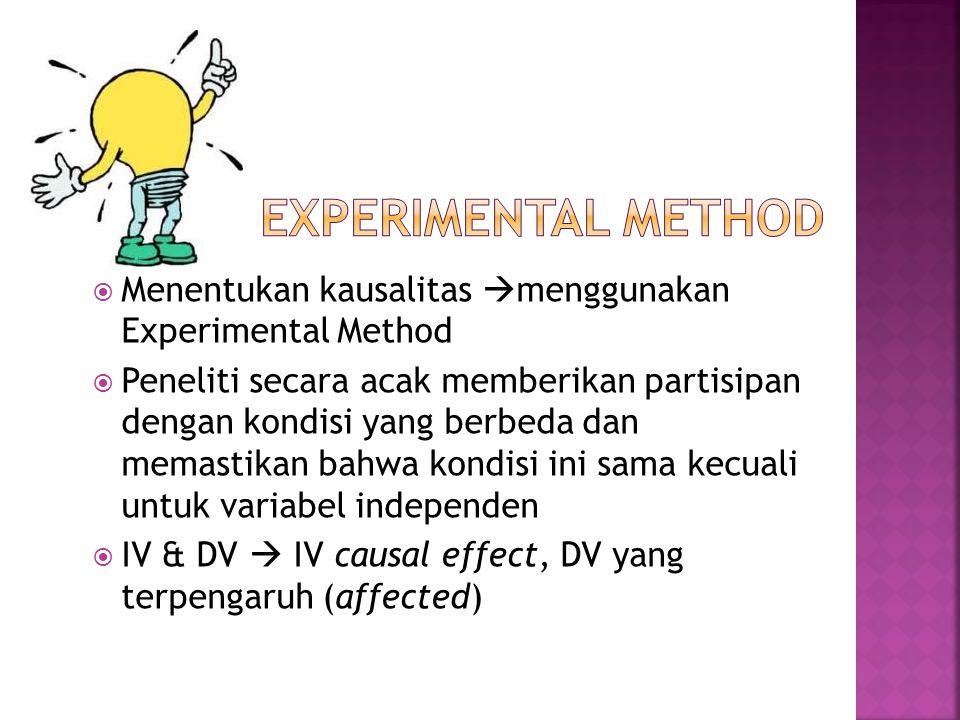  Menentukan kausalitas  menggunakan Experimental Method  Peneliti secara acak memberikan partisipan dengan kondisi yang berbeda dan memastikan bahw