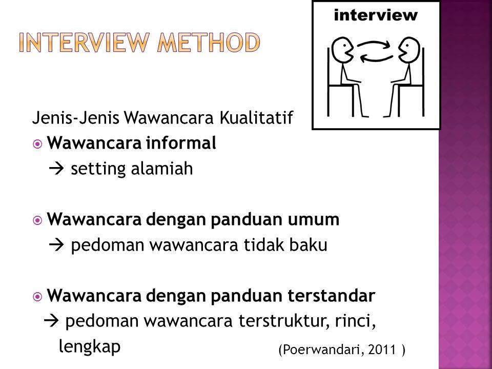 Jenis-Jenis Wawancara Kualitatif  Wawancara informal  setting alamiah  Wawancara dengan panduan umum  pedoman wawancara tidak baku  Wawancara den