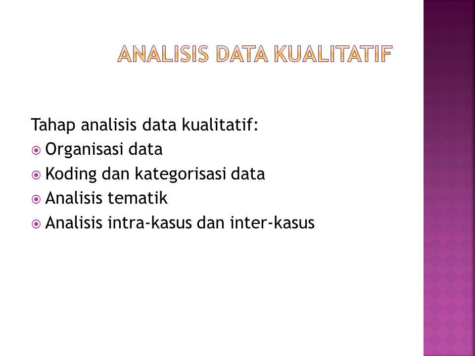 Tahap analisis data kualitatif:  Organisasi data  Koding dan kategorisasi data  Analisis tematik  Analisis intra-kasus dan inter-kasus