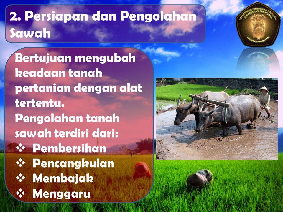 2. Persiapan dan Pengolahan Sawah Bertujuan mengubah keadaan tanah pertanian dengan alat tertentu.