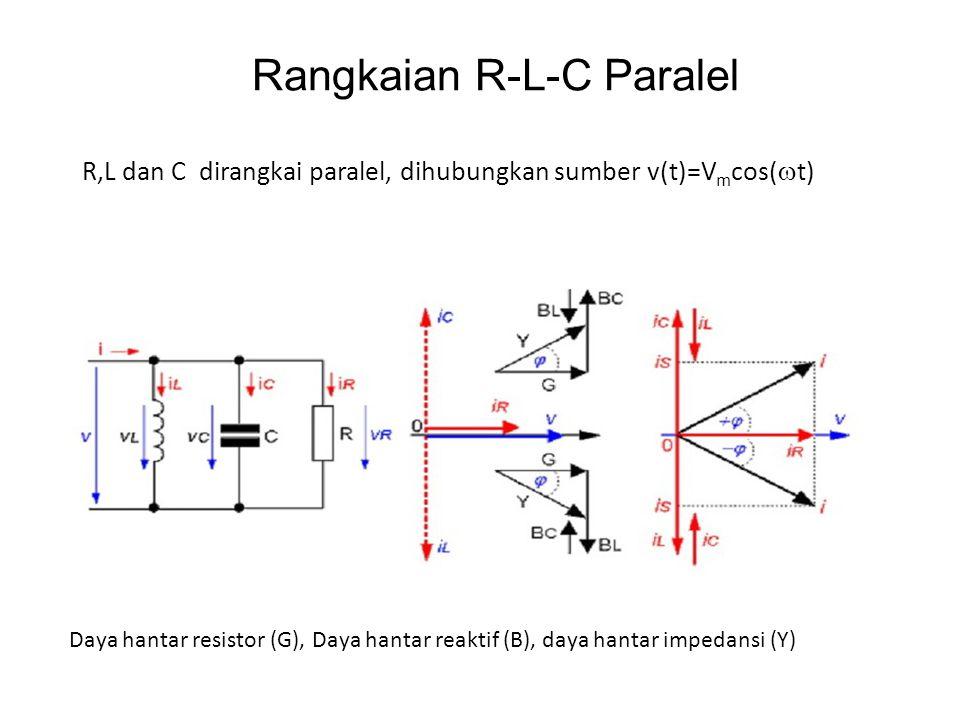 Rangkaian R-L-C Paralel R,L dan C dirangkai paralel, dihubungkan sumber v(t)=V m cos(  t) Daya hantar resistor (G), Daya hantar reaktif (B), daya han