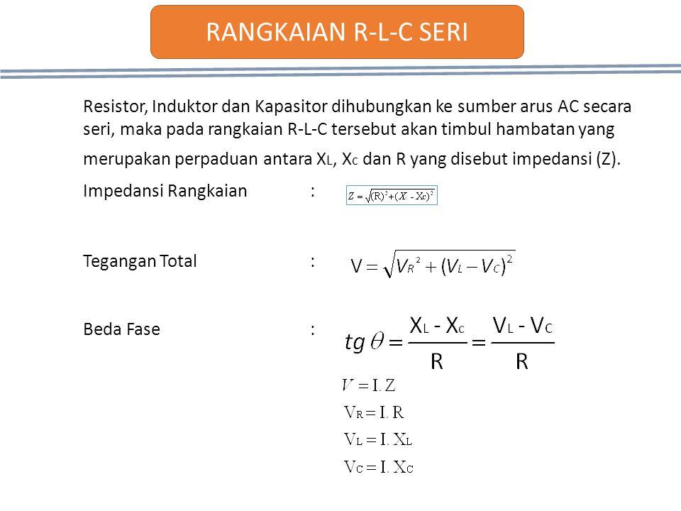 Resistor, Induktor dan Kapasitor dihubungkan ke sumber arus AC secara seri, maka pada rangkaian R-L-C tersebut akan timbul hambatan yang merupakan per