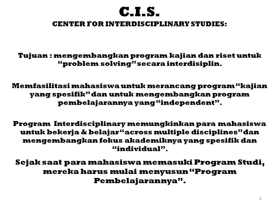 """4 C.I.S. CENTER FOR INTERDISCIPLINARY STUDIES: Tujuan : mengembangkan program kajian dan riset untuk """"problem solving"""" secara interdisiplin. Memfasili"""