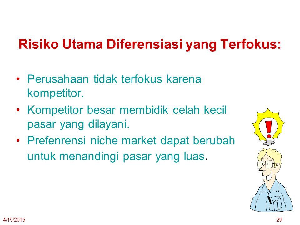 4/15/201529 Risiko Utama Diferensiasi yang Terfokus: Perusahaan tidak terfokus karena kompetitor. Kompetitor besar membidik celah kecil pasar yang dil