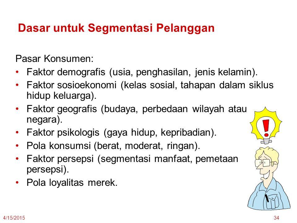 4/15/201534 Dasar untuk Segmentasi Pelanggan Pasar Konsumen: Faktor demografis (usia, penghasilan, jenis kelamin). Faktor sosioekonomi (kelas sosial,