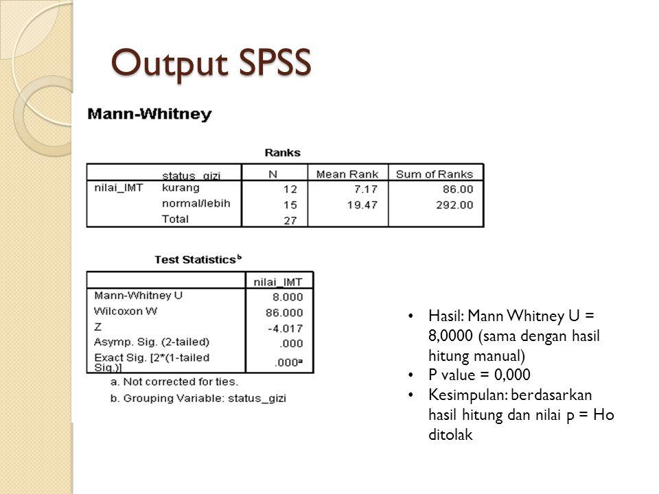 Output SPSS Hasil: Mann Whitney U = 8,0000 (sama dengan hasil hitung manual) P value = 0,000 Kesimpulan: berdasarkan hasil hitung dan nilai p = Ho dit