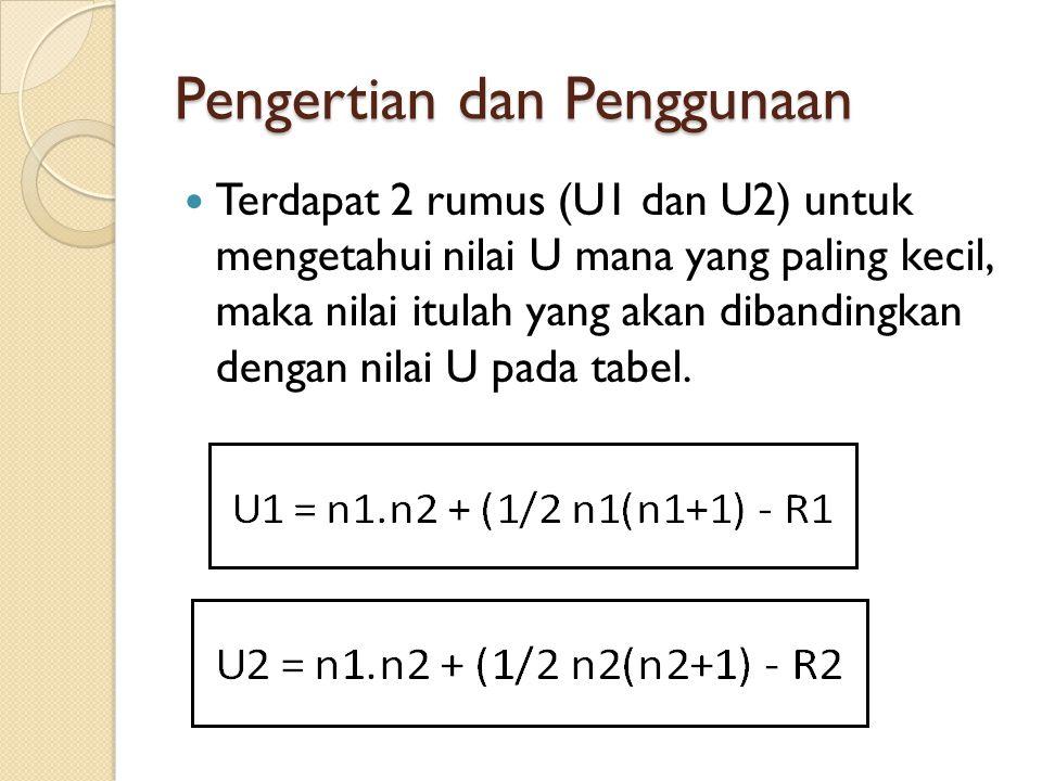 Pengertian dan Penggunaan Terdapat 2 rumus (U1 dan U2) untuk mengetahui nilai U mana yang paling kecil, maka nilai itulah yang akan dibandingkan denga