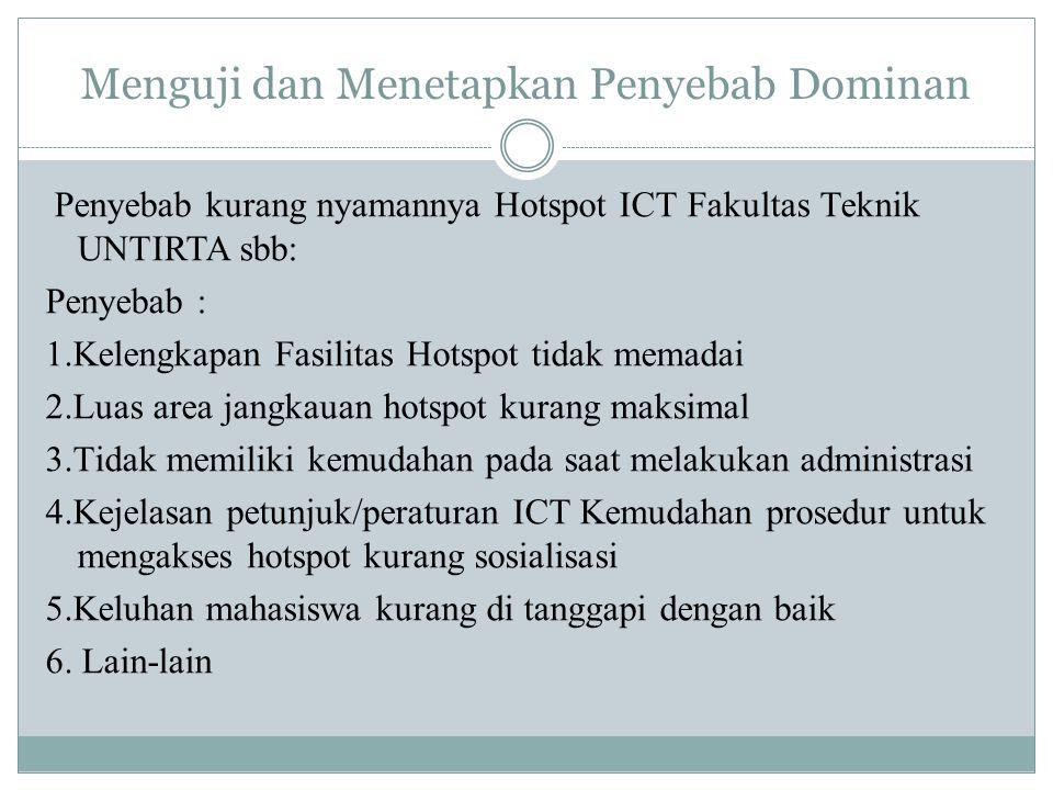 Menguji dan Menetapkan Penyebab Dominan Penyebab kurang nyamannya Hotspot ICT Fakultas Teknik UNTIRTA sbb: Penyebab : 1.Kelengkapan Fasilitas Hotspot