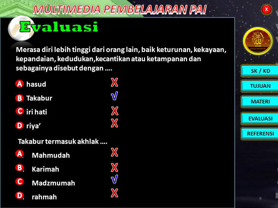 SK / KD TUJUAN EVALUASI REFERENSI MATERI X X 8 Pengertian Dalil naqli Contoh 132