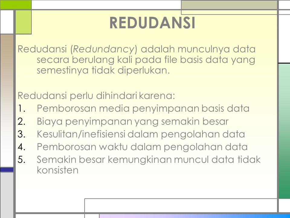 REDUDANSI Redudansi (Redundancy) adalah munculnya data secara berulang kali pada file basis data yang semestinya tidak diperlukan.