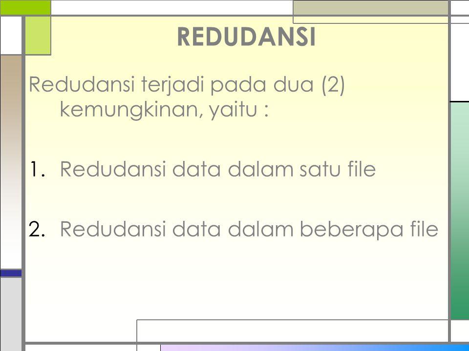 REDUDANSI Redudansi terjadi pada dua (2) kemungkinan, yaitu : 1.Redudansi data dalam satu file 2.Redudansi data dalam beberapa file
