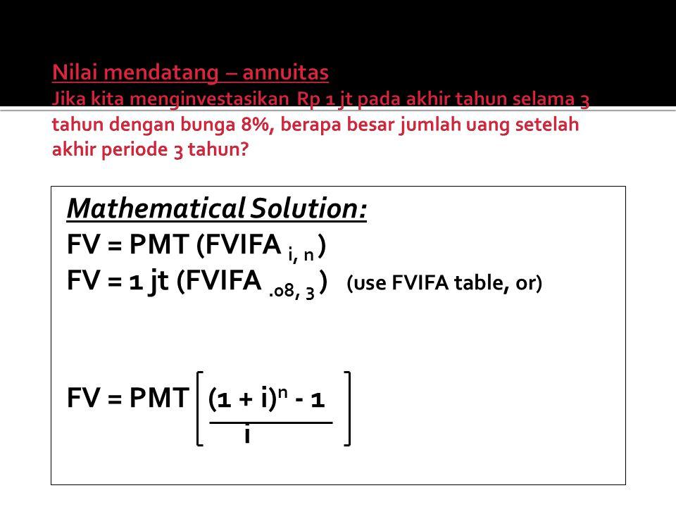 Mathematical Solution: FV = PMT (FVIFA i, n ) FV = 1 jt (FVIFA.08, 3 ) (use FVIFA table, or) FV = PMT (1 + i) n - 1 i