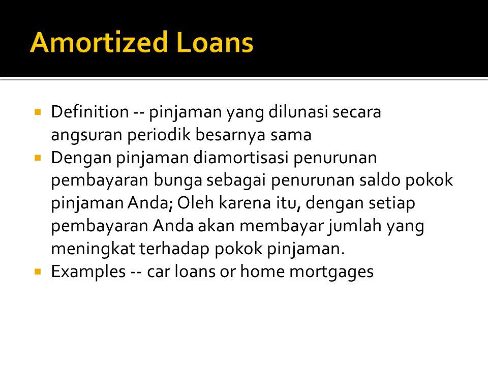  Definition -- pinjaman yang dilunasi secara angsuran periodik besarnya sama  Dengan pinjaman diamortisasi penurunan pembayaran bunga sebagai penuru