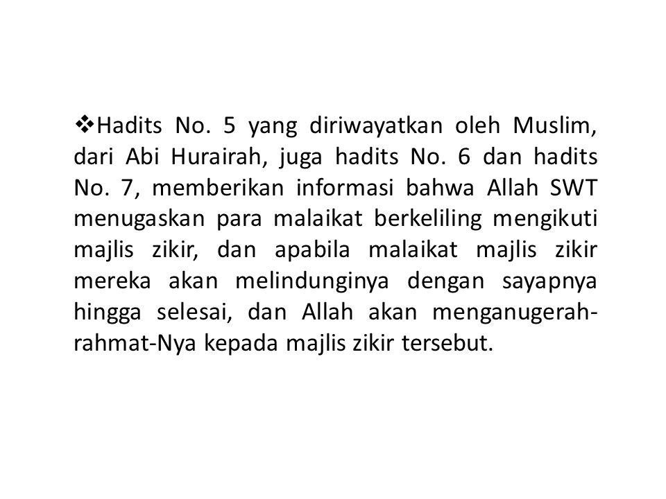  Hadits No. 5 yang diriwayatkan oleh Muslim, dari Abi Hurairah, juga hadits No. 6 dan hadits No. 7, memberikan informasi bahwa Allah SWT menugaskan p