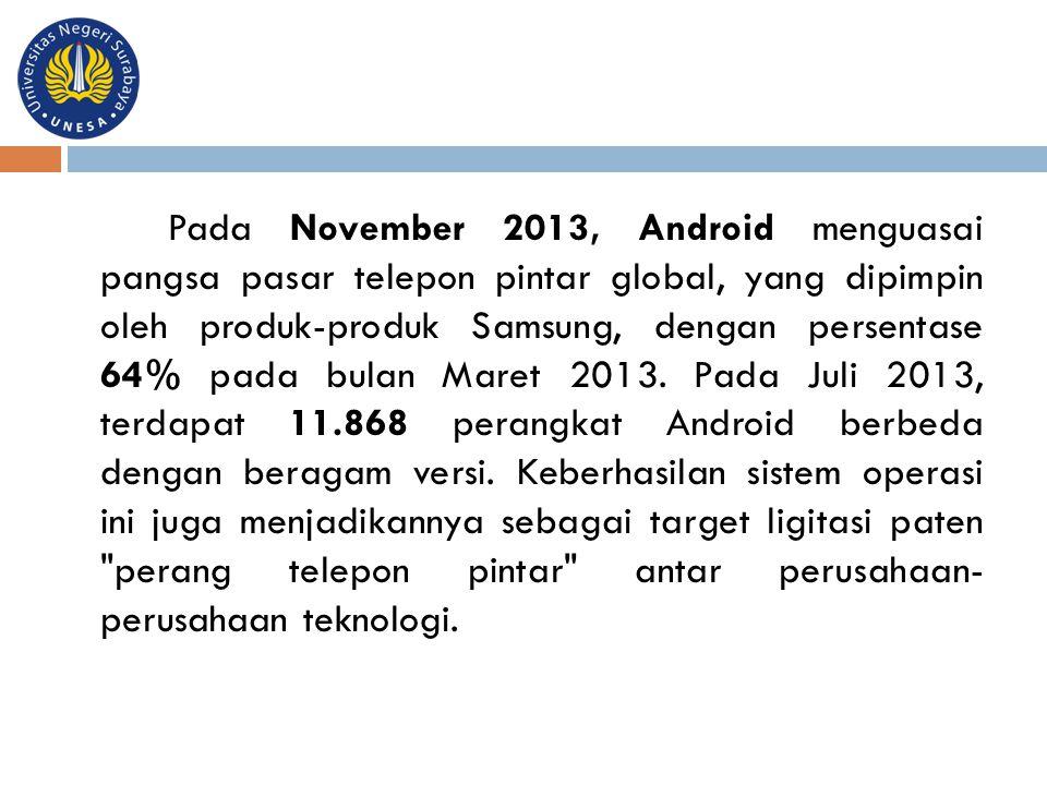 Pada November 2013, Android menguasai pangsa pasar telepon pintar global, yang dipimpin oleh produk-produk Samsung, dengan persentase 64% pada bulan M