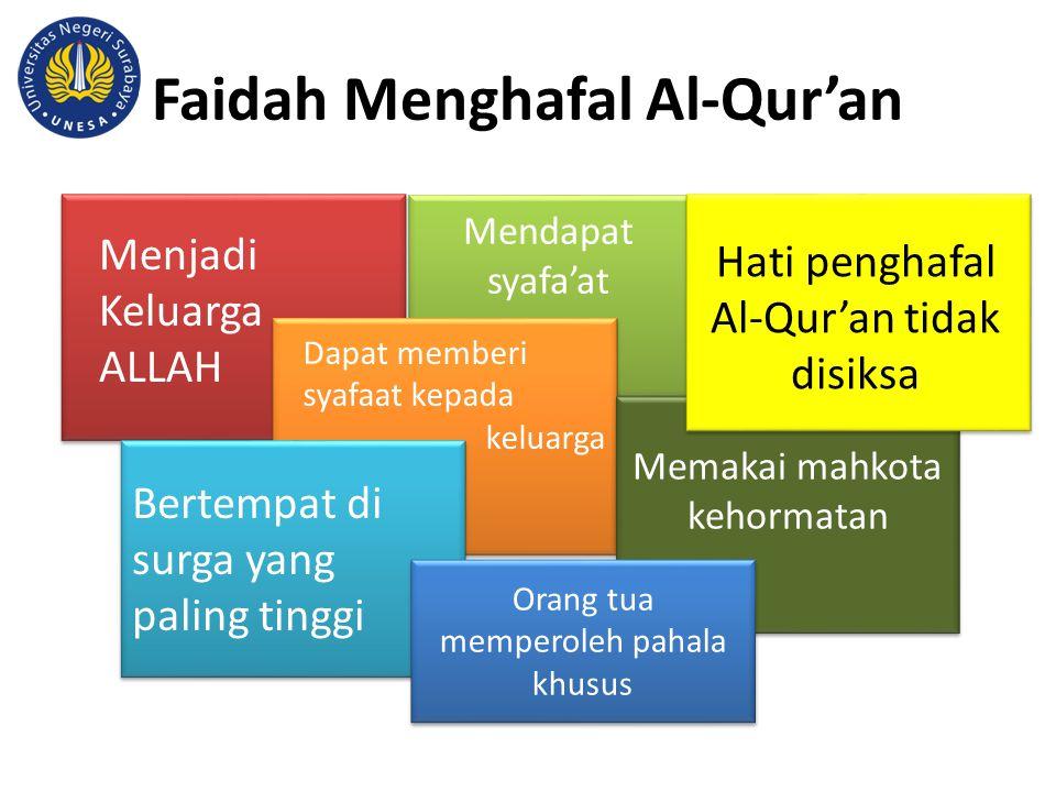 Faidah Menghafal Al-Qur'an Memakai mahkota kehormatan Orang tua memperoleh pahala khusus Menjadi Keluarga ALLAH Bertempat di surga yang paling tinggi