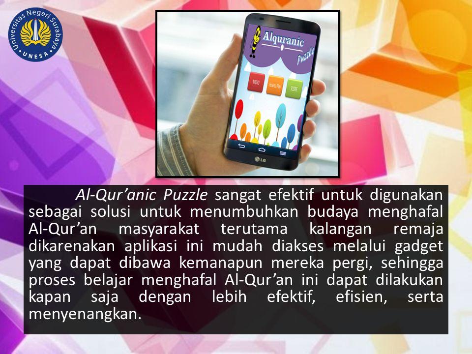 Al-Qur'anic Puzzle sangat efektif untuk digunakan sebagai solusi untuk menumbuhkan budaya menghafal Al-Qur'an masyarakat terutama kalangan remaja dika
