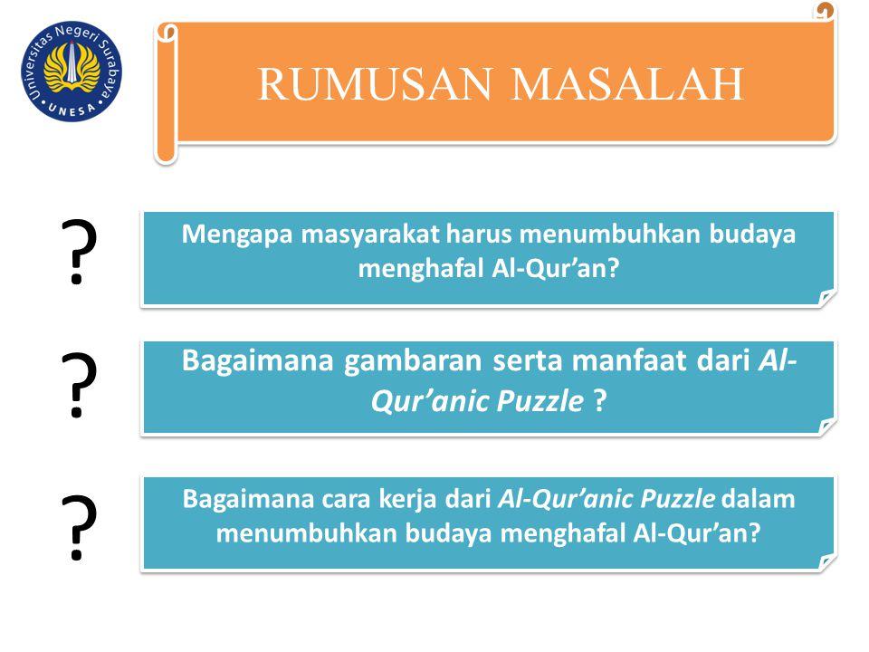 Perlunya masyarakat menumbuhkan budaya menghafal Al-Qur'an Gambaran serta manfaat dari Al- Qur'anic Puzzle Cara kerja dari Al-Qur'anic Puzzledalam menumbuhkan budaya menghafal Alquran TUJUAN