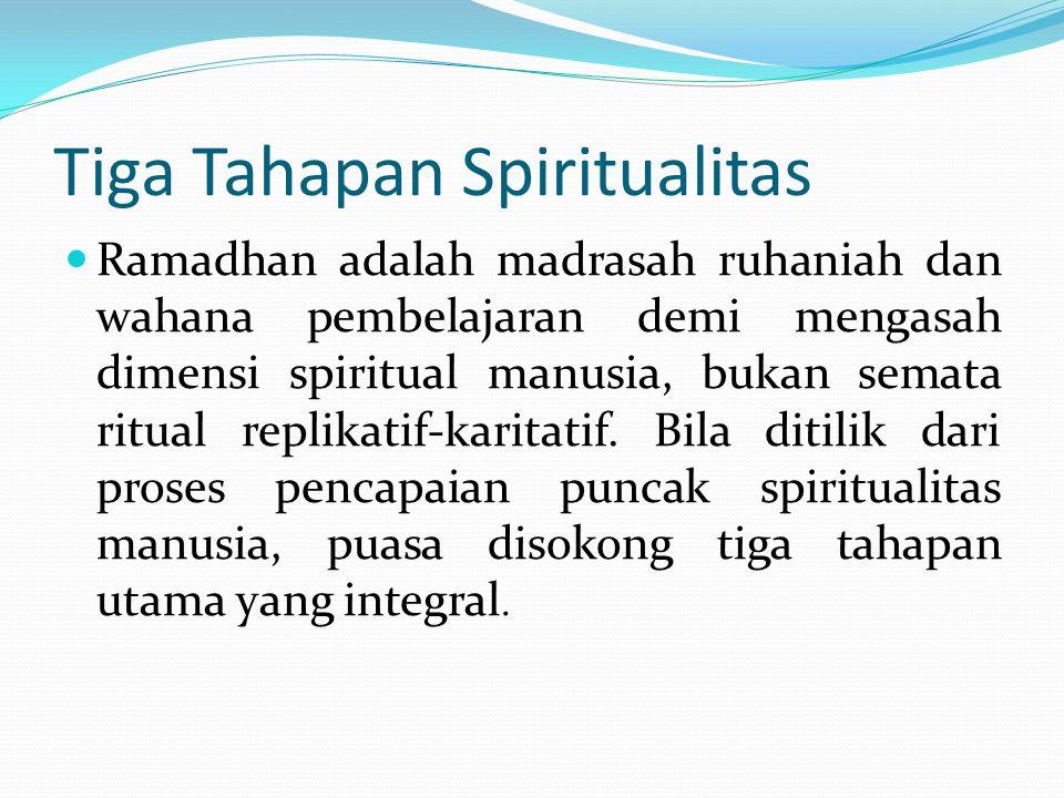 Tiga Tahapan Spiritualitas Ramadhan adalah madrasah ruhaniah dan wahana pembelajaran demi mengasah dimensi spiritual manusia, bukan semata ritual repl