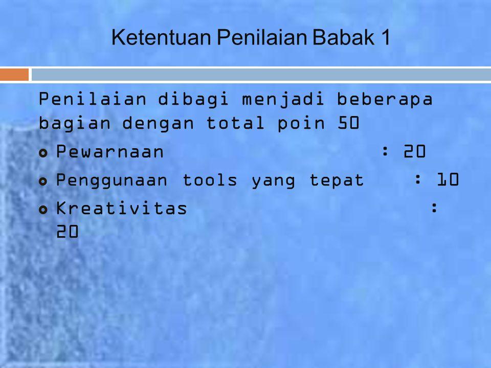 Ketentuan Penilaian Babak 1 Penilaian dibagi menjadi beberapa bagian dengan total poin 50  Pewarnaan : 20  Penggunaan tools yang tepat : 10  Kreativitas : 20