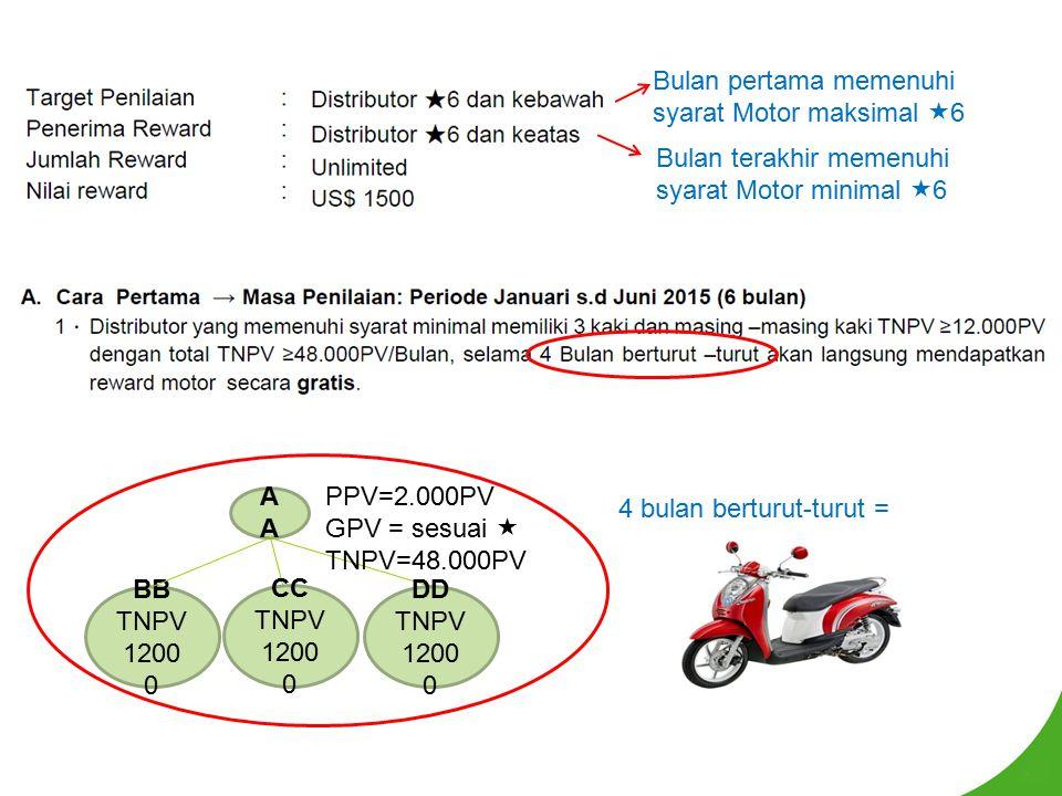 Bulan terakhir memenuhi syarat Motor minimal  6 Bulan pertama memenuhi syarat Motor maksimal  6 A BB TNPV 1200 0 CC TNPV 1200 0 DD TNPV 1200 0 PPV=2