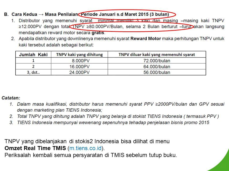 TNPV yang dibelanjakan di stokis2 Indonesia bisa dilihat di menu Omzet Real Time TMIS (m.tiens.co.id). Periksalah kembali semua persyaratan di TMIS se
