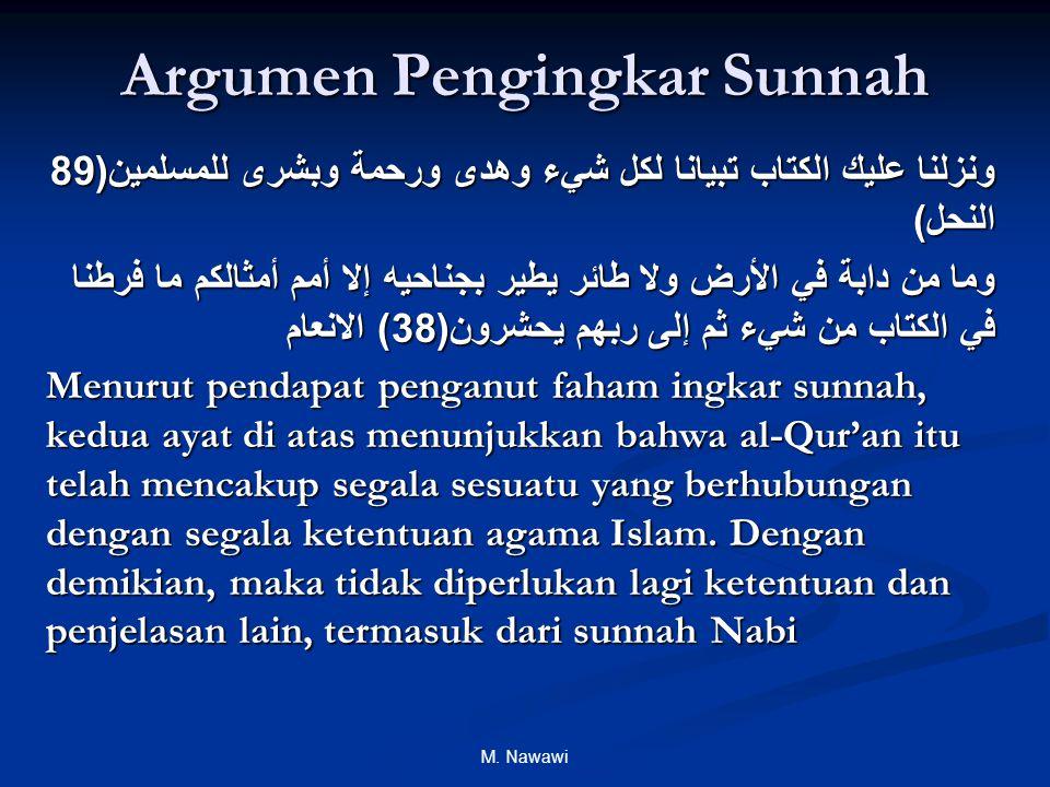 M. Nawawi Argumen Pengingkar Sunnah ونزلنا عليك الكتاب تبيانا لكل شيء وهدى ورحمة وبشرى للمسلمين (89 النحل ) وما من دابة في الأرض ولا طائر يطير بجناحيه