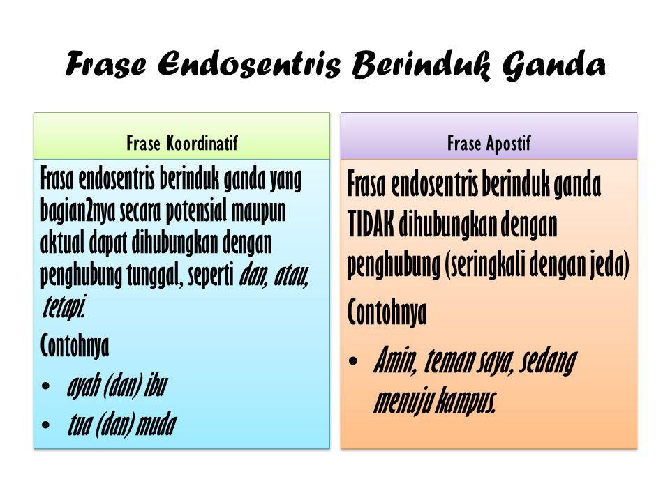 Frase Endosentris Berinduk Ganda Frase Koordinatif Frasa endosentris berinduk ganda yang bagian2nya secara potensial maupun aktual dapat dihubungkan d