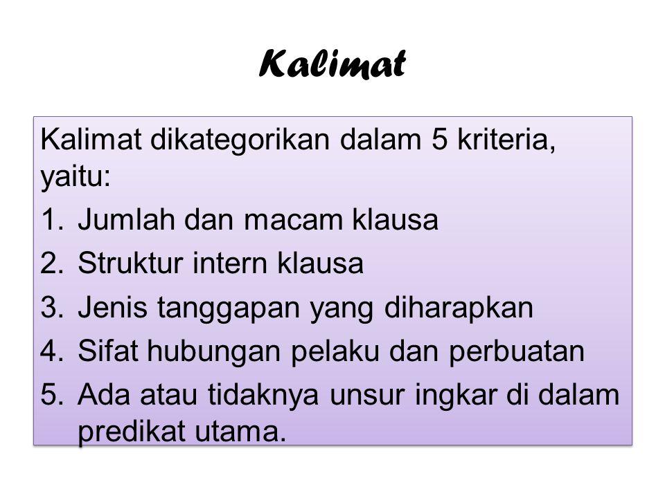 Kalimat Kalimat dikategorikan dalam 5 kriteria, yaitu: 1.Jumlah dan macam klausa 2.Struktur intern klausa 3.Jenis tanggapan yang diharapkan 4.Sifat hu
