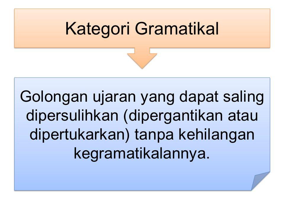 Golongan ujaran yang dapat saling dipersulihkan (dipergantikan atau dipertukarkan) tanpa kehilangan kegramatikalannya.
