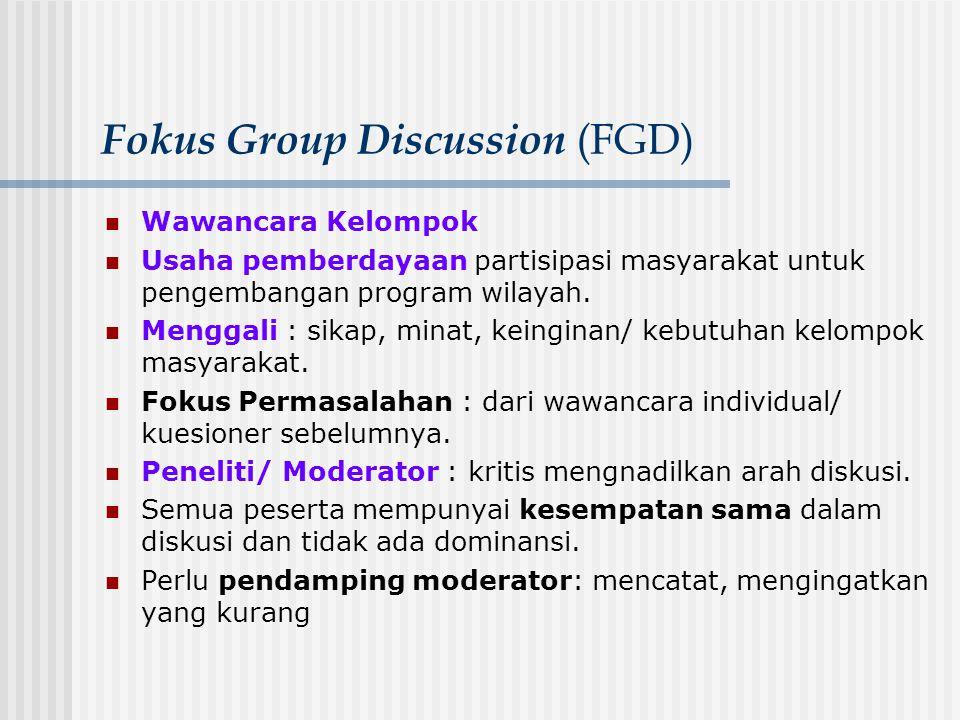 Fokus Group Discussion (FGD) Wawancara Kelompok Usaha pemberdayaan partisipasi masyarakat untuk pengembangan program wilayah. Menggali : sikap, minat,