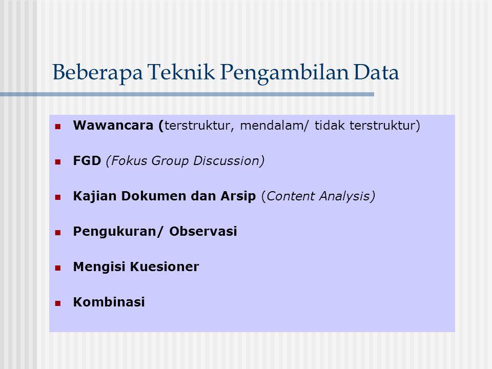 Beberapa Teknik Pengambilan Data Wawancara (terstruktur, mendalam/ tidak terstruktur) FGD (Fokus Group Discussion) Kajian Dokumen dan Arsip (Content A