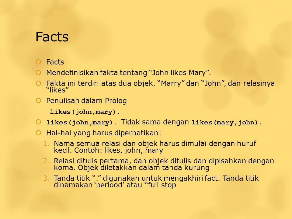 "Facts  Facts  Mendefinisikan fakta tentang ""John likes Mary"".  Fakta ini terdiri atas dua objek, ""Marry"" dan ""John"", dan relasinya ""likes""  Penuli"