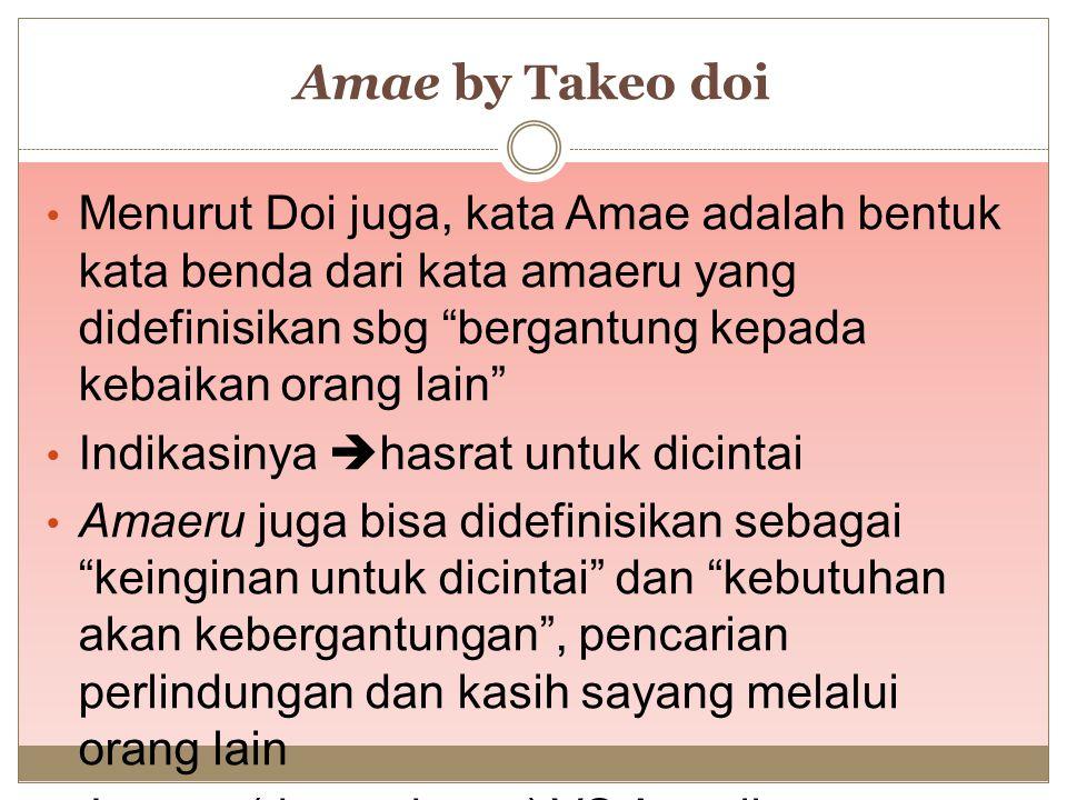 """Amae by Takeo doi Menurut Doi juga, kata Amae adalah bentuk kata benda dari kata amaeru yang didefinisikan sbg """"bergantung kepada kebaikan orang lain"""""""